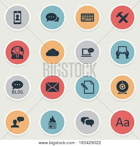 Vector Illustration Set Of Simple User Icons. Elements Site, Gazette, Broadcast And Other Synonyms Typography, Argument And Hammer.