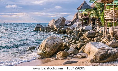 Bamboo hut on the roks over sea on Sunset, Koh Tao, Samui, Thailand