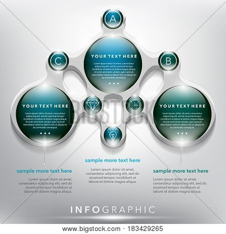 Abstract info graphic with circle elements. 3 parts concept. Can be used for workflow layout, banner, number options, step up options, diagram, web design. Vector illustration. Eps10.