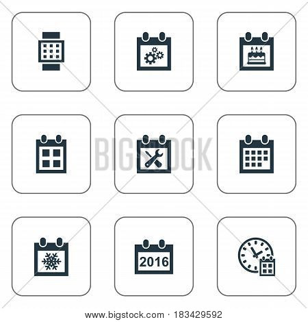 Vector Illustration Set Of Simple Date Icons. Elements Snowflake, 2016 Calendar, Reminder And Other Synonyms Agenda, Day And Time.