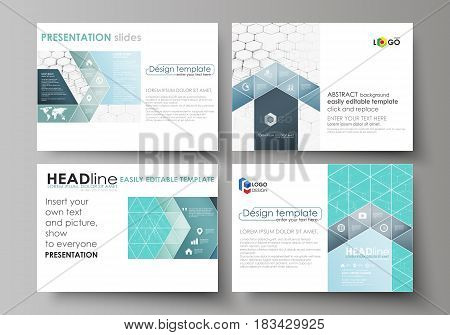 Set of business templates for presentation slides. Easy editable abstract vector layouts in flat design. Chemistry pattern, hexagonal molecule structure. Medicine, science and technology concept.