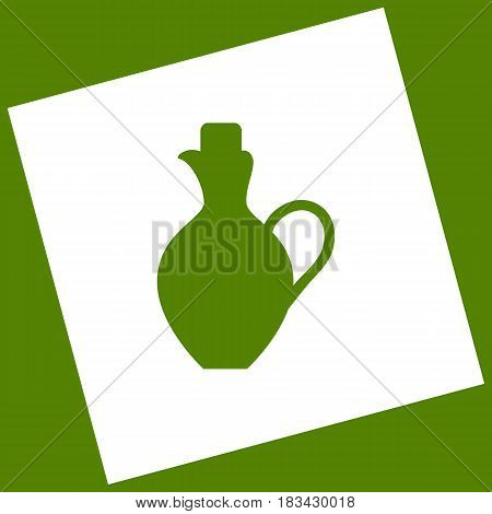 Amphora sign illustration. Vector. White icon obtained as a result of subtraction rotated square and path. Avocado background.