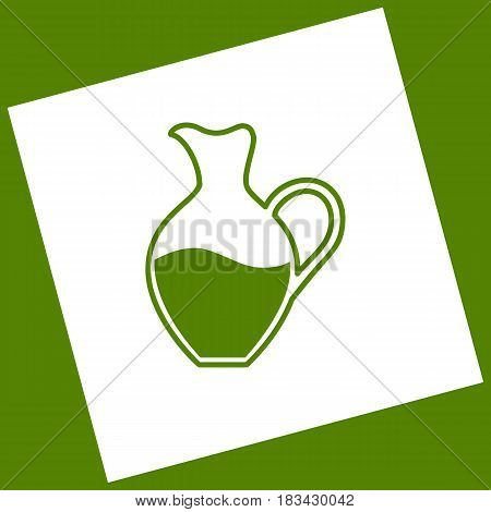 Amphora sign. Vector. White icon obtained as a result of subtraction rotated square and path. Avocado background.