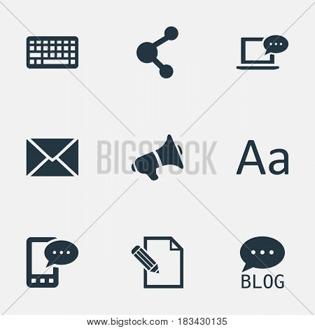 Vector Illustration Set Of Simple Newspaper Icons. Elements Post, Laptop, Site And Other Synonyms Loudspeaker, Writing And Network.
