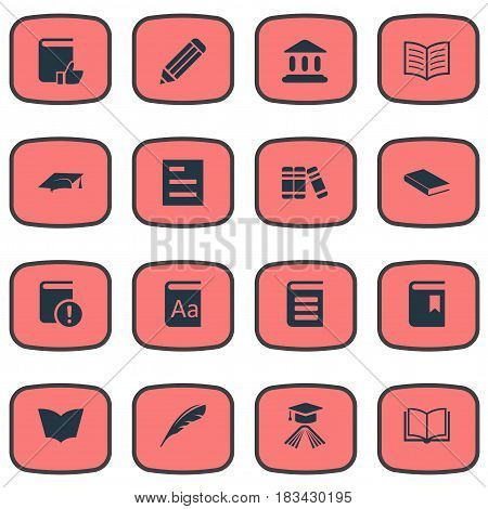 Vector Illustration Set Of Simple Knowledge Icons. Elements Important Reading, Alphabet, Recommended Reading And Other Synonyms Feather, Academic And School.