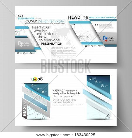 Business templates in HD format for presentation slides. Easy editable abstract vector layouts in flat design. Chemistry pattern, connecting lines and dots, molecule structure on white, geometric graphic background.