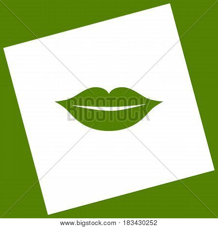 Lips sign illustration. Vector. White icon obtained as a result of subtraction rotated square and path. Avocado background.