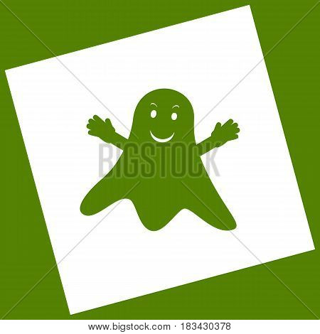 Ghost isolated sign. Vector. White icon obtained as a result of subtraction rotated square and path. Avocado background.