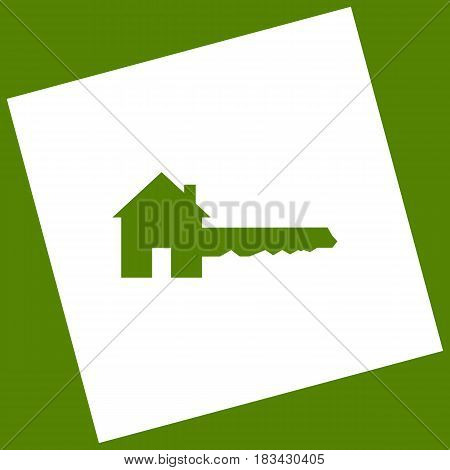 Home Key sign. Vector. White icon obtained as a result of subtraction rotated square and path. Avocado background.