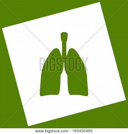 Human anatomy. Lungs sign. Vector. White icon obtained as a result of subtraction rotated square and path. Avocado background.