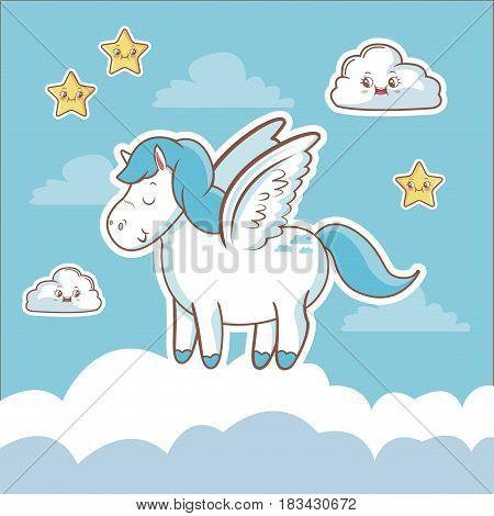 unicorn fantasy card dream cloud star kawaii vector illustration