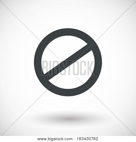 Deny icon prohibited sign flat design vector illustration with round shadow