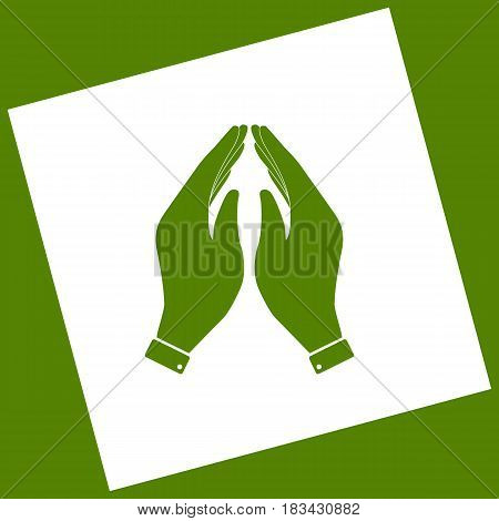 Hand icon illustration. Prayer symbol. Vector. White icon obtained as a result of subtraction rotated square and path. Avocado background.