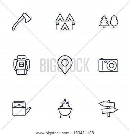 Set Of 9 Adventure Outline Icons Set.Collection Of Photographing, Baggage, Ax And Other Elements.