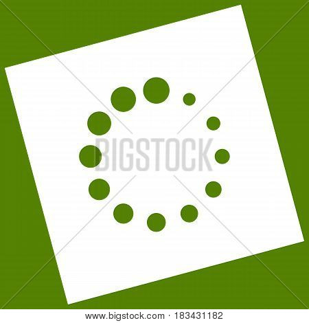 Circular loading sign. Vector. White icon obtained as a result of subtraction rotated square and path. Avocado background.