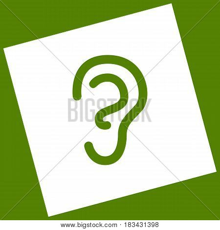 Human anatomy. Ear sign. Vector. White icon obtained as a result of subtraction rotated square and path. Avocado background.