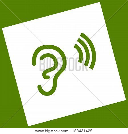 Human anatomy. Ear sign with soundwave. Vector. White icon obtained as a result of subtraction rotated square and path. Avocado background.