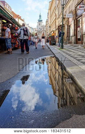 PRAGUE, CZECH REPUBLIC - September 6, 2016 : Tourists on foot Street in old town PRAGUE in Czech Republic