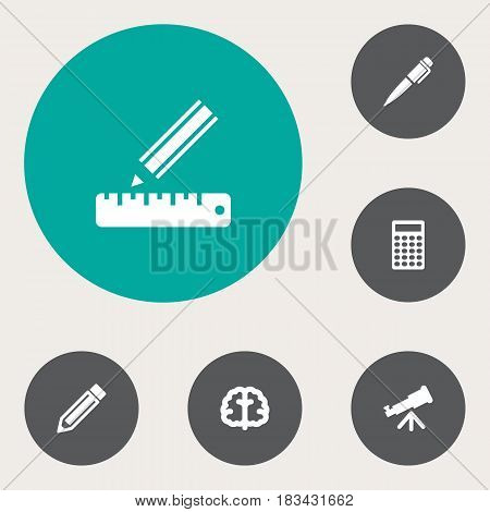 Set Of 6 Science Icons Set.Collection Of Pencil, Ink, Drawing Tool And Other Elements.