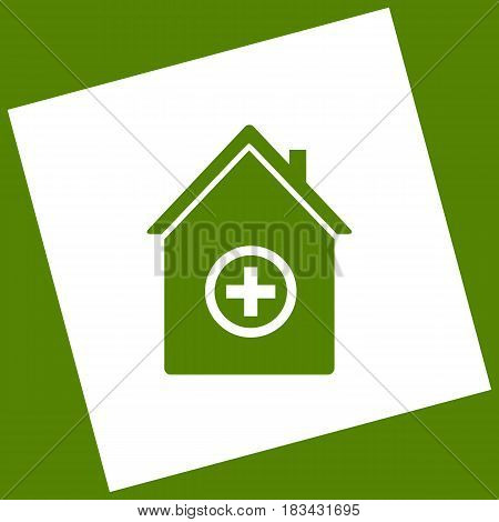 Hospital sign illustration. Vector. White icon obtained as a result of subtraction rotated square and path. Avocado background.