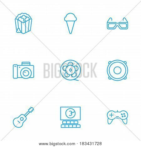 Set Of 9 Amusement Outline Icons Set.Collection Of Film Role, 3D Glasses, Popcorn And Other Elements.