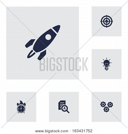Set Of 6 Strategy Icons Set.Collection Of Goal, Document Checking, Gear And Other Elements.