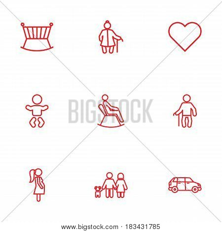 Set Of 9 People Outline Icons Set.Collection Of Crib, Grangmother, Soul And Other Elements.