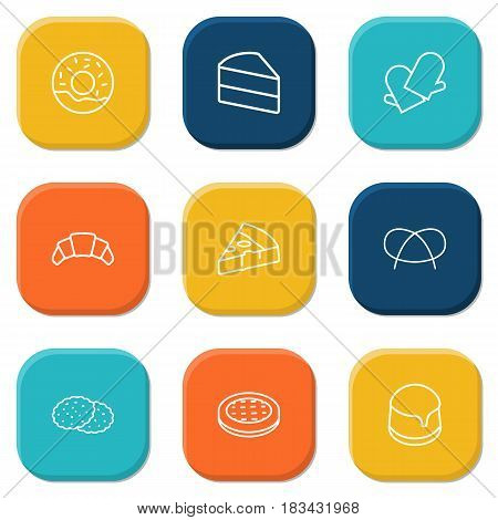 Set Of 9 Stove Outline Icons Set.Collection Of Donuts, Pizza, Croissant And Other Elements.