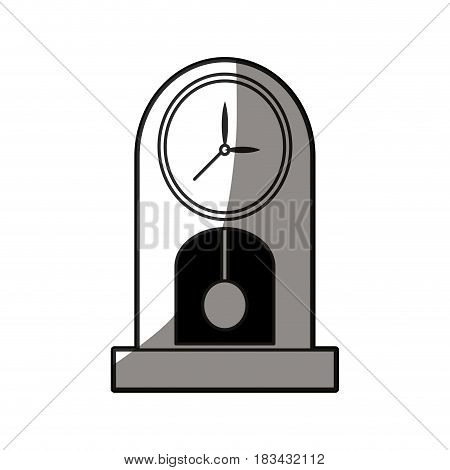 outlined clock pendulum classic decoration shadow vector illustration