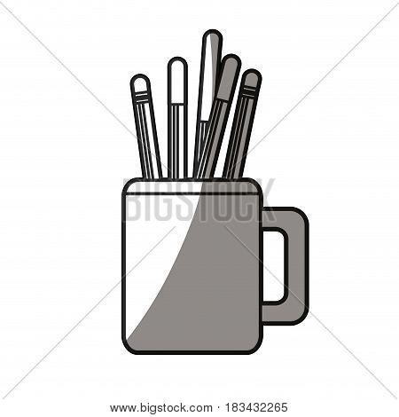 pencils in mug utensils office shadow vector illustration