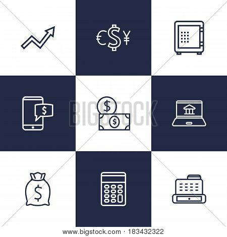 Set Of 9 Finance Outline Icons Set.Collection Of Electron Payment, Safe, Grow Up And Other Elements.