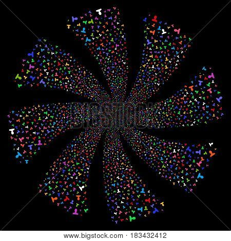 Customer fireworks swirl rotation. Vector illustration style is flat bright multicolored iconic symbols on a black background. Object whirl made from random icons.