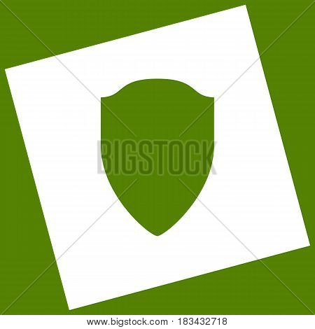 Shield sign illustration. Vector. White icon obtained as a result of subtraction rotated square and path. Avocado background.