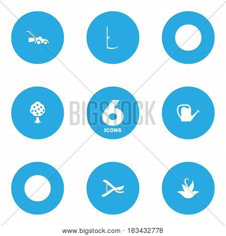 Set Of 6 Horticulture Icons Set.Collection Of Plant, Pruner, Cutter And Other Elements.