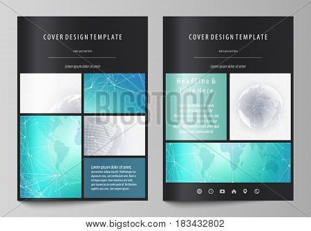 The black colored vector illustration of the editable layout of A4 format covers design templates for brochure, magazine, flyer, booklet. Chemistry pattern. Molecule structure. Medical, science background.