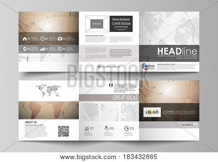The abstract minimalistic vector illustration of the editable layout. Two creative covers design templates for square brochure. Global network connections, technology background with world map