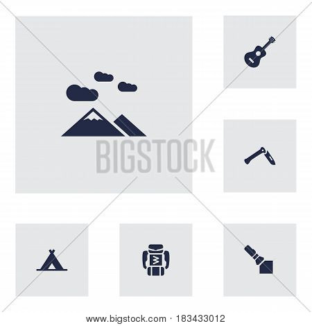Set Of 6 Adventure Icons Set.Collection Of Jackknife, Tent, Landscape Elements.