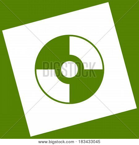 Vector CD or DVD sign. Vector. White icon obtained as a result of subtraction rotated square and path. Avocado background.