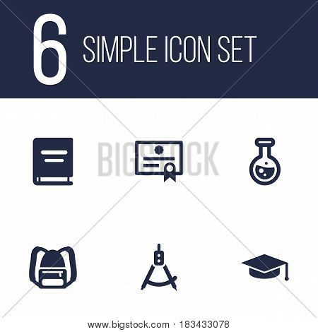 Set Of 6 Science Icons Set.Collection Of Magnet Navigator, Textbook, Academic Hat And Other Elements.