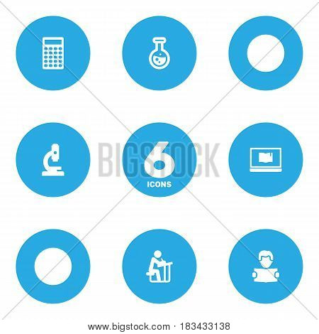 Set Of 6 Education Icons Set.Collection Of Reading, Student, Calculate And Other Elements.