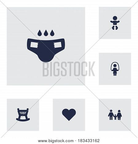 Set Of 6 Family Icons Set.Collection Of Heart, Cot, Relatives And Other Elements.