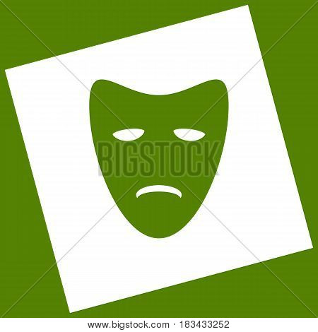 Tragedy theatrical masks. Vector. White icon obtained as a result of subtraction rotated square and path. Avocado background.
