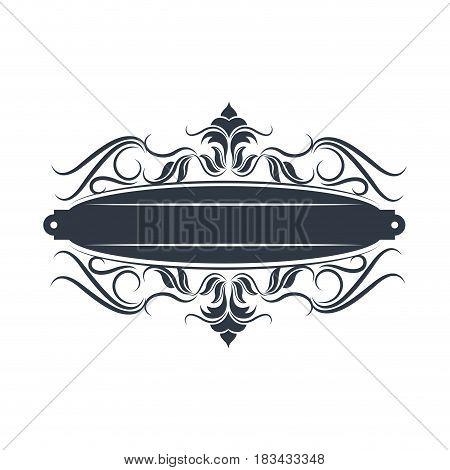 ornament flourishes plaque decoration vintage template vector illustration