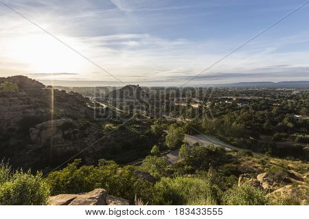 Morning view of Santa Susana Pass, Stoney Point Park and the San Fernando Valley in Los Angeles, California.