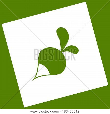Radish simple sign. Vector. White icon obtained as a result of subtraction rotated square and path. Avocado background.