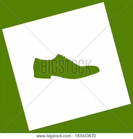 Men Shoes sign. Vector. White icon obtained as a result of subtraction rotated square and path. Avocado background.