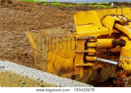The Tractor Or Bulldozer On Construction Site