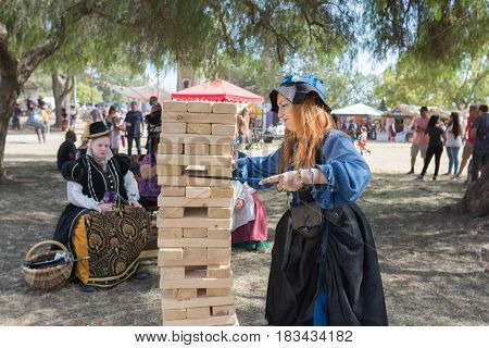 Jenga Classic Game During The Renaissance Pleasure Faire.