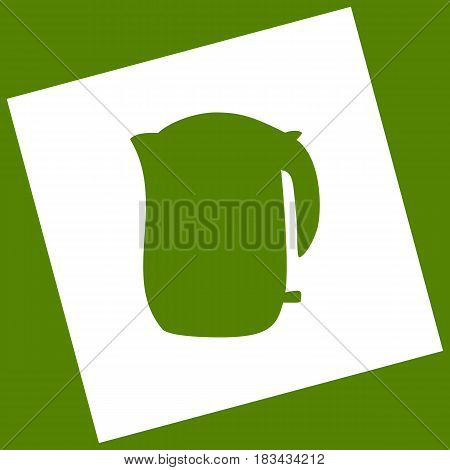 Electric kettle sign. Vector. White icon obtained as a result of subtraction rotated square and path. Avocado background.