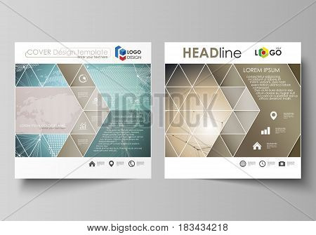 The minimalistic vector illustration of the editable layout of two square format covers design templates for brochure, flyer, booklet. Chemistry pattern with molecule structure. Medical DNA research